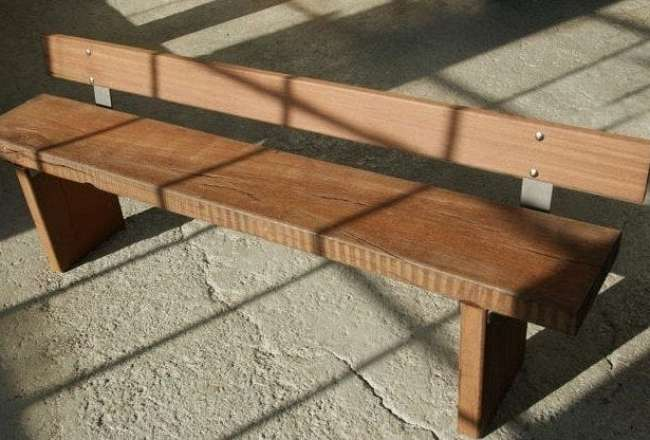 Plank bench with backrest