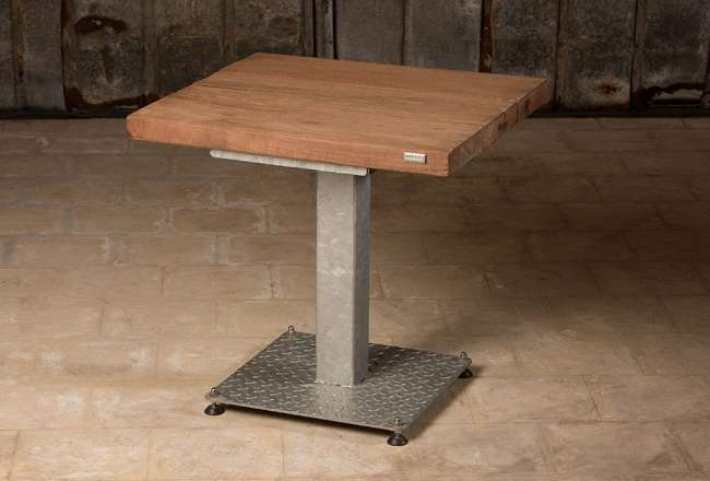 Café table with a sanded surface and galvanised legs 75 x 75cm