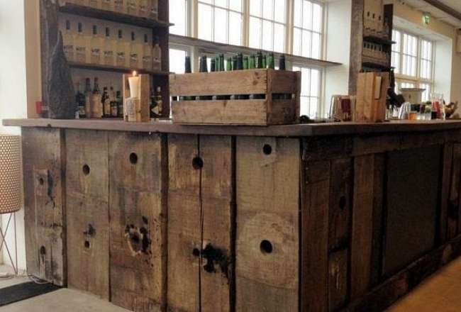 Thors bar table made of recycled wood at Toldboden Copenhagen