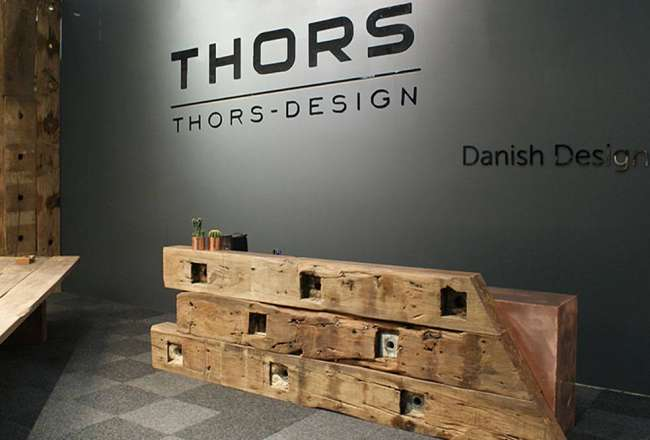 Thors Design Kalos counter table made of recycled wood and copper