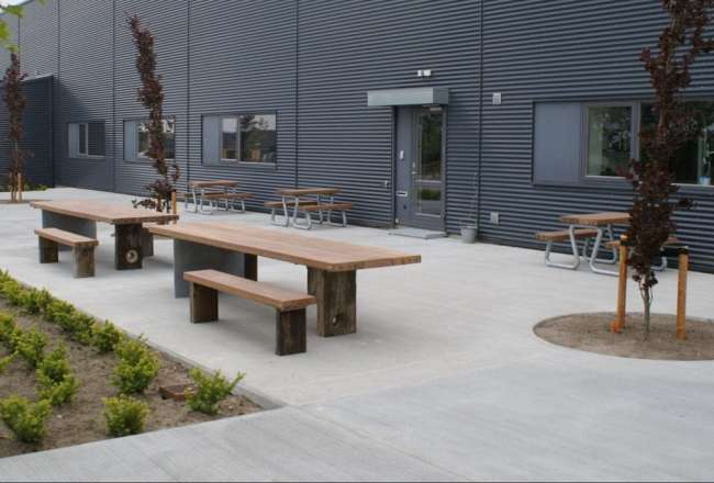 Gaia plank tables, plank benches and Omega benches at A-TEX in Herning
