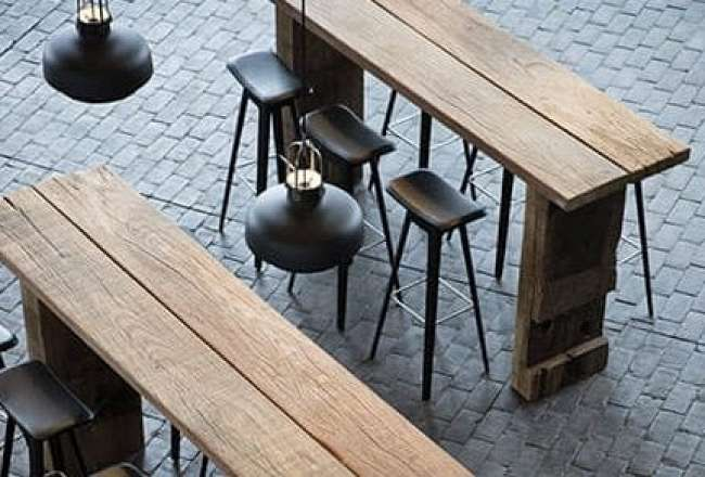 Thors Sif high tables made of recycled wood