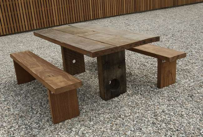 Thors Gaia plank table with a rustic surface and sanded plank benches