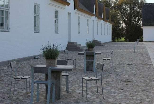 Thors Design Odeon chair and outdoor tables at Novo Nordisk
