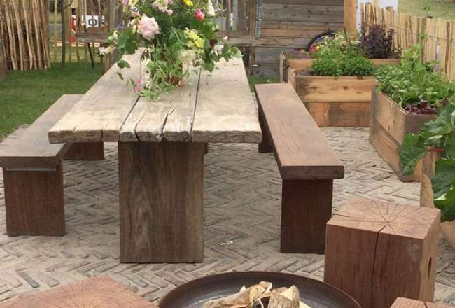 Thors Gaia plank table and plank bench with fire pit and Cubes