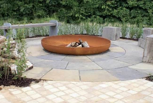 Thors Design fire pit on a terrace