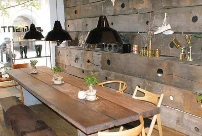 Thors rustic panels and Gaia plank table