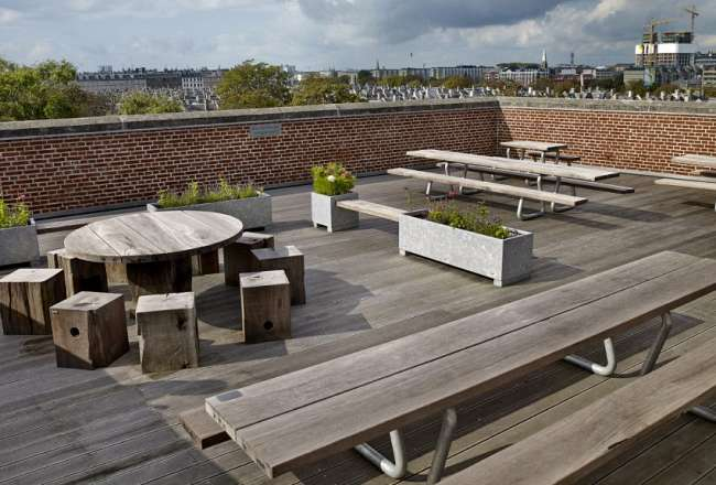 Thors Omega benches, Globe table and planter boxes