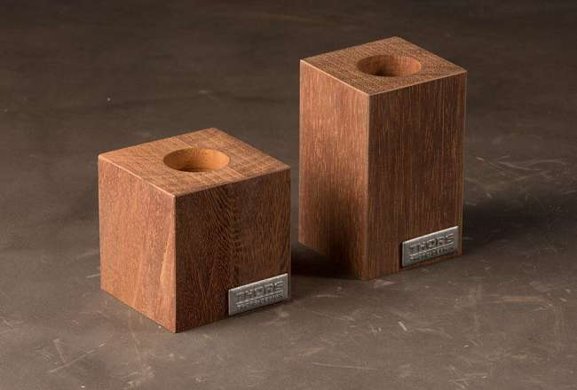 Thors Design tea light holders made of recycled azobé wood
