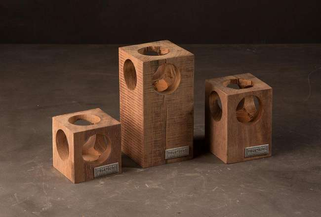 Thors Design tea light holders with holes - historic details - recycled wood
