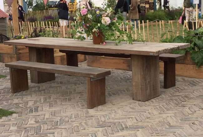 Gaia plank table and plank benches